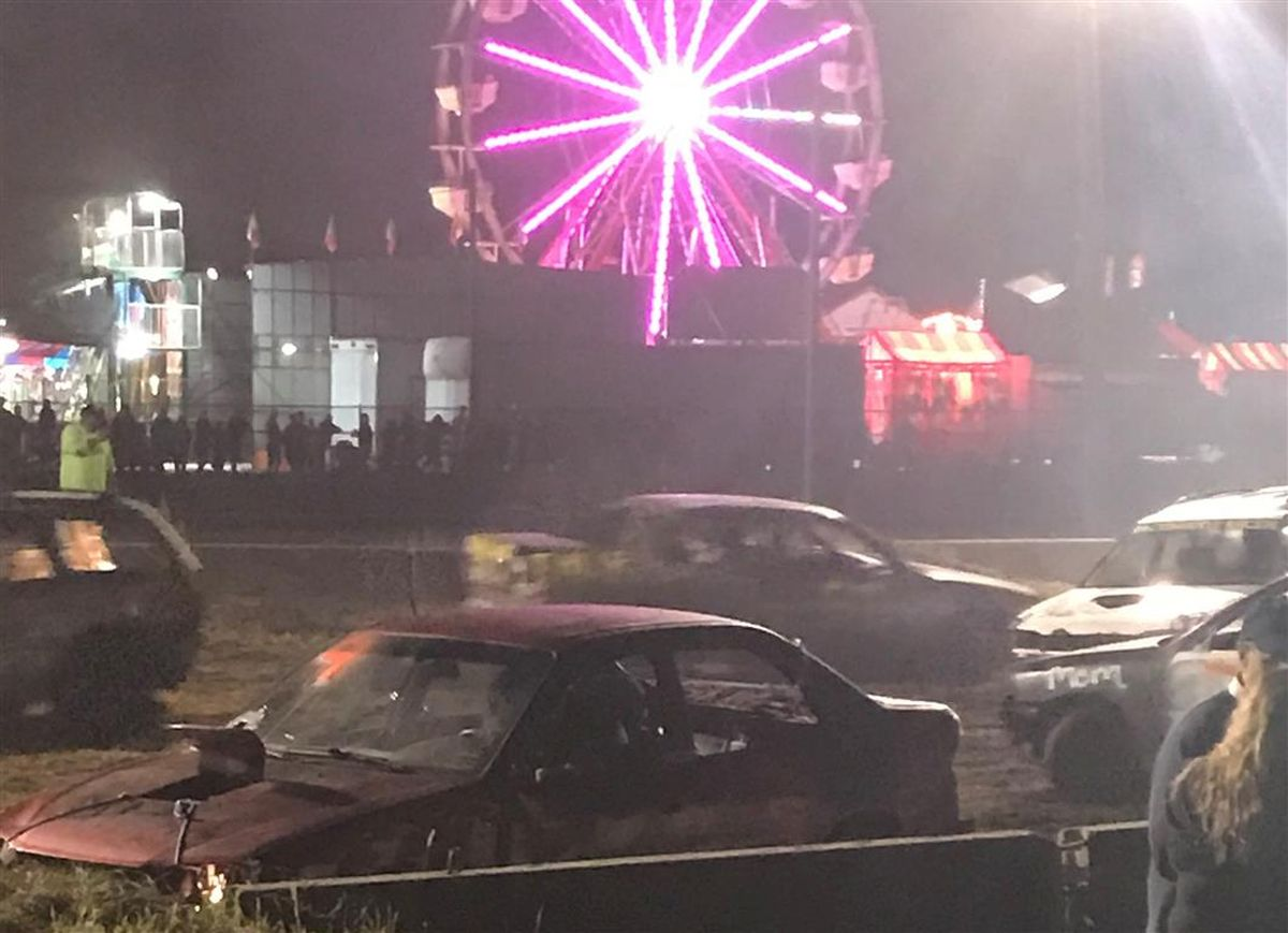 fair demolition derby at night